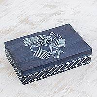 Wood decorative box, 'Mayan Tradition' - Indigo-Dyed Mayan Wood Decorative Box from El Salvador