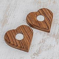 Wood tealight holders, 'Lovely Light' (pair) - Heart-Shaped Wood Tealight Holders from Guatemala (Pair)
