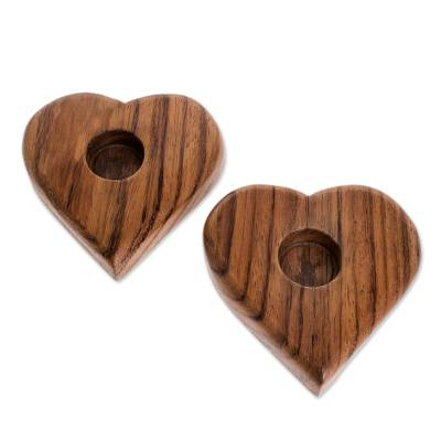 Heart-Shaped Wood Tealight Holders from Guatemala (Pair)