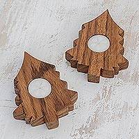 Wood tealight holders, 'Forest Light' (pair) - Tree-Shaped Wood Tealight Holders from Guatemala (Pair)