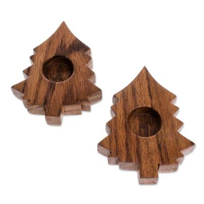 Tree-Shaped Wood Tealight Holders from Guatemala (Pair)