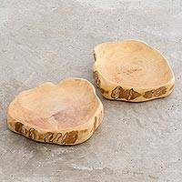 Wood serving plates, 'Jocoteco Art' (pair) - Coffee Root Serving Plates from Guatemala (Pair)