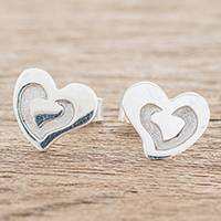 Sterling silver stud earrings, 'Love Shines' - Guatemalan Handcrafted Sterling Silver Heart Stud Earrings
