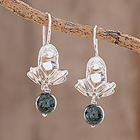 Jade dangle earrings, 'In the Pond' - Jade Frog Dangle Earrings from Guatemala