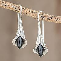 Jade drop earrings, 'Arum Lilies' - Jade Arum-Lily Flower Drop Earrings from Guatemala