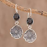 Jade dangle earrings, 'Guatemalan Flowers' - Floral Black Jade Dangle Earrings from Guatemala