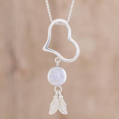 Jade pendant necklace, 'Lilac Love' - Lilac Jade Heart Pendant Necklace from Guatemala
