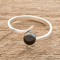 Jade single stone ring, 'Simple Black Abstraction' - Jade Solitaire Ring in Black from Guatemala