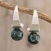 Jade half-hoop earrings, 'Mystic Jade' - Modern Jade Half-Hoop Earrings from Guatemala