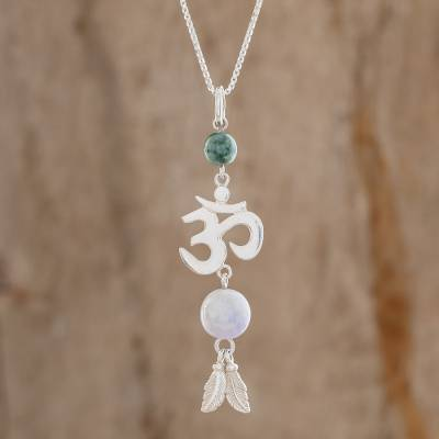 Jade pendant necklace, Mayan Om in Lilac