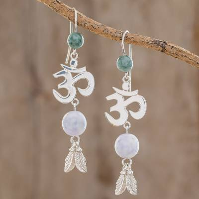 Jade dangle earrings, 'Mayan Om in Lilac' - Jade Om Dangle Earrings in Lilac from Guatemala