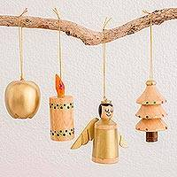 Reclaimed wood ornaments, 'Festive Cheer' (set of 4)