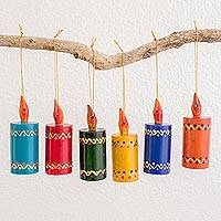 Wood ornaments, 'Festival Lights' (set of 6) - Assorted Color Reclaimed Wood Candle Ornaments (Set of 6)