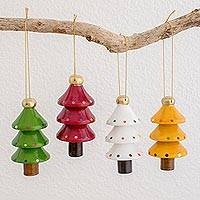 Wood ornaments, 'Festive Trees' (set of 4) - Assorted Color Reclaimed Wood Tree Ornaments (Set of 4)