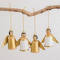Wood ornaments, 'Gilded Angels' (set of 4) - White and Gold Reclaimed Wood Angel Ornaments (Set of 4)