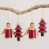 Wood ornaments, 'Gilded Christmas in Red' (set of 4) - Red Gold Reclaimed Wood Angel and Tree Ornaments (Set of 4)