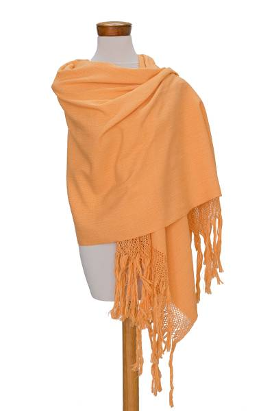Cotton shawl, 'Tecpan Combination in Yellow' - Handwoven Cotton Shawl in Yellow from Guatemala