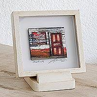 Photo collage, 'Neighborhood Store' (6 in.) - 3D Photo Collage Art Red and Cream Door Guatemala (6 in.)