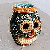 Ceramic figurine, 'Life of Color' - Hand-Painted Calavera Skull Ceramic Figurine from Guatemala