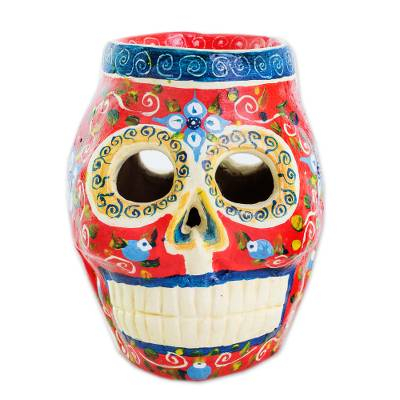 Ceramic figurine, 'Happiness and Color' - Calavera Skull Ceramic Figurine from Guatemala