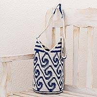 Cotton bucket bag, 'Indigo and White Waves' - Cotton Bucket Bag with Indigo and White Wave Motifs