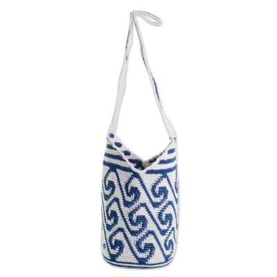 Cotton Bucket Bag with Indigo and White Wave Motifs
