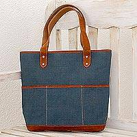 Leather accent cotton shoulder bag, 'Azure Bliss' - Leather Accent Cotton Shoulder Bag in Azure from Guatemala