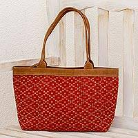 Leather accented cotton shoulder bag, 'Paprika Diamonds' - Leather Accent Cotton Shoulder Bag in Paprika from Guatemala