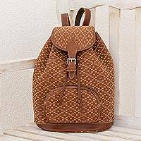 Leather accent cotton backpack, 'Infinite Diamonds' - Leather Accent Cotton Backpack from Guatemala