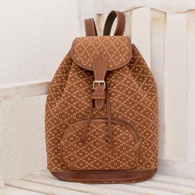 3e16e68c9076 Leather Accented Cotton Backpack from Guatemala - Infinite Diamonds ...