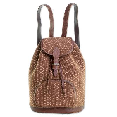 Leather Accented Cotton Backpack from Guatemala