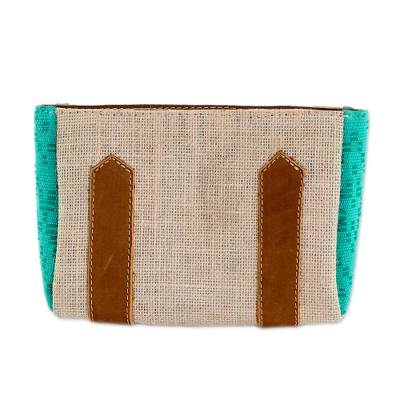 Leather Accented Jute and Cotton Cosmetic Bag in Aqua