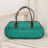 Leather accent cotton baguette, 'Aqua Illusion' - Leather Accent Cotton Baguette in Aqua from Guatemala