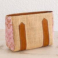 Leather accented jute and cotton cosmetic bag, 'Feminine Freshness' - Leather Accented Jute and Cotton Cosmetic Bag in Blush
