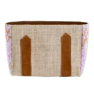 Leather Accented Jute and Cotton Cosmetic Bag in Blush