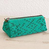 Leather accent cotton clutch, 'Aqua Illusion' - Leather Accent Cotton Clutch in Aqua from Guatemala