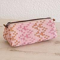 Leather accent cotton clutch, 'Feminine Freshness' - Leather Accent Cotton Clutch in Blush from Guatemala