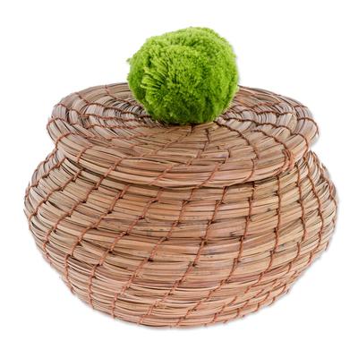 Handmade Pine Needle Basket with a Lime Cotton Pompom