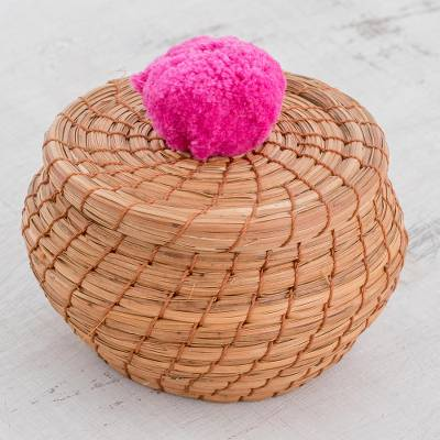 Pine needle basket, 'Natural Enchantment in Fuchsia' - Handmade Pine Needle Basket with a Fuchsia Cotton Pompom