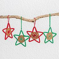 Pine needle ornaments, 'Native Stars' (set of 4) - Pine Needle Star Ornaments from Guatemala (Set of 4)