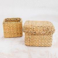 Natural fiber baskets, 'Cibaque Tradition' (pair) - Handwoven Natural Cibaque Fiber Baskets (Pair)