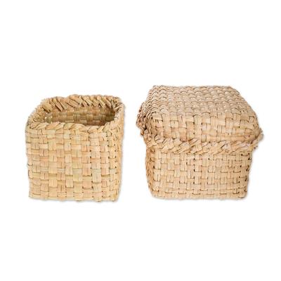 Handwoven Natural Cibaque Fiber Baskets (Pair)