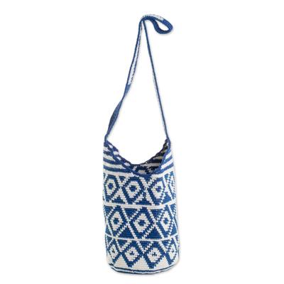 Cotton Bucket Bag with Indigo Rhombus Motifs from Guatemala
