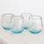 Recycled glass stemless wine glasses 'Glistening Sea' (set of 4) - Set of Four Recycled Glass Stemless Wine Glasses in Blue (image 2b) thumbail