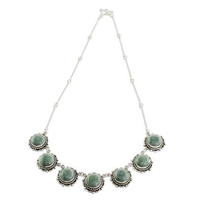 Jade link necklace, 'Sunrise in Antigua' - Round Jade Link Necklace from Guatemala