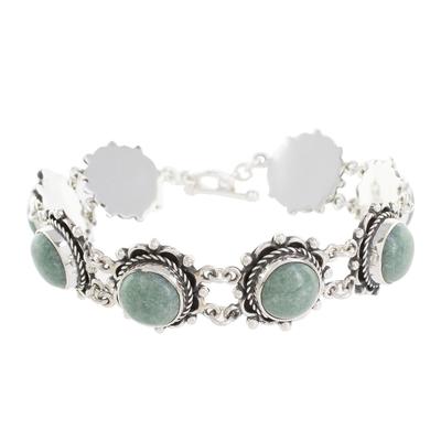 Jade link bracelet, 'Sunrise in Antigua' - Round Jade Link Bracelet from Guatemala