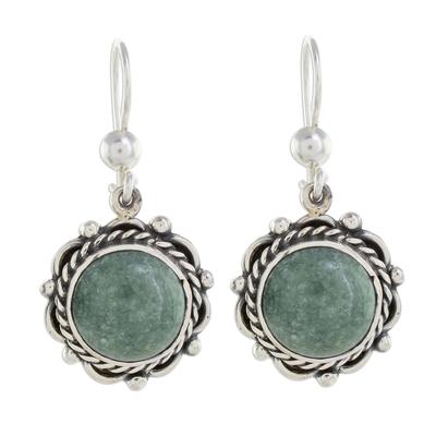 Jade dangle earrings, 'Sunrise in Antigua' - Round Jade Dangle Earrings from Guatemala