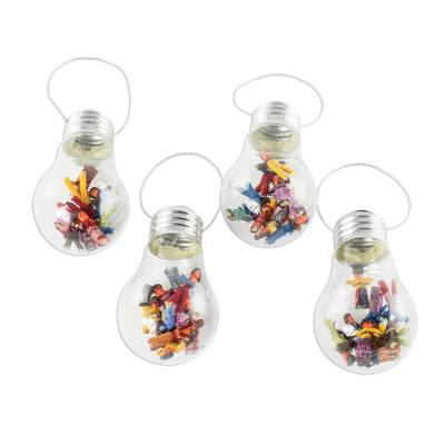Upcycled light bulb ornaments, 'Worry Not' (set of 4) - Upcycled Glass Light Bulb Worry Doll Ornaments (Set of 4)