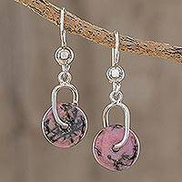 Rhodonite dangle earrings, 'Wheels of Fortune' - Round Rhodonite Dangle Earrings from Guatemala