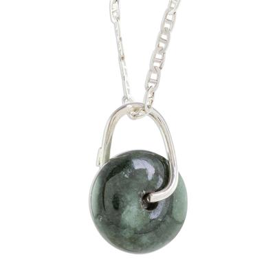 Jade pendant necklace, 'Dark Green Wheel of Fortune' - Round Dark Green Jade Pendant Necklace from Guatemala